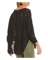 Free People - Black Not Cold In This Knit Lace Top - Lyst