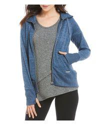 Calvin Klein   Blue Performance Marled Knit Zip Front Hoodie Jacket   Lyst