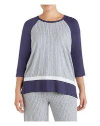 DKNY | Gray Plus Stripe-print Jersey Sleep Top | Lyst