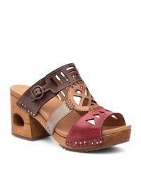 Dansko - Oralee Black Waxy Block Heel Sandals - Lyst