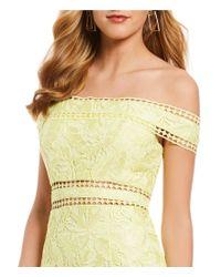 Aidan By Aidan Mattox - Yellow Off-the-shoulder Lace Midi Dress - Lyst