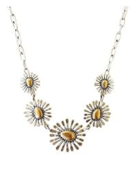 Lucky Brand - Metallic Two Tone Floral Collar Necklace - Lyst