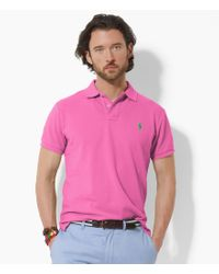 Polo Ralph Lauren | Pink Classic-fit Solid Mesh Polo Shirt for Men | Lyst