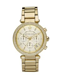 Michael Kors | Metallic Parker Goldtone Stainless Steel Chronograph Bracelet Watch | Lyst