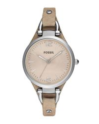 Fossil   Natural Georgia Sand Leather Saddle Strap 3-hand Stainless Steel Watch   Lyst