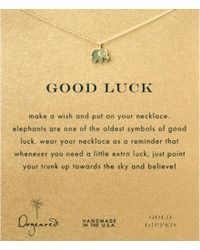 Dogeared | Metallic Good Luck Elephant Charm Delicate Gold-dipped Sterling Silver Necklace | Lyst