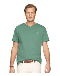 Polo Ralph Lauren - Green Big & Tall Classic-fit Short-sleeve Cotton Jersey V-neck Tee for Men - Lyst