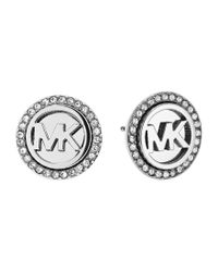 Michael Kors | Metallic Mk Monogram Pavé Crystal Stud Earrings | Lyst