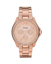 Fossil - Pink Cecile Rose Gold Multifunction Watch - Lyst