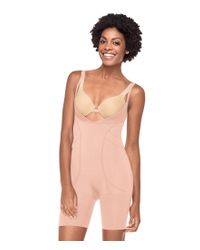 Spanx   Pink Slimmer & Shine® Open-bust Mid-thigh Body Shaper   Lyst
