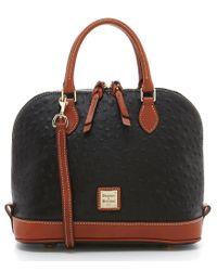 Dooney & Bourke | Black Ostrich-embossed Zip Zip Dome Satchel | Lyst