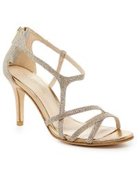 Pelle Moda - Gray Ruby Metallic Strappy Dress Sandals - Lyst