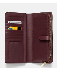 COACH - Purple Madison Skinny Wallet In Leather - Lyst