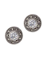 Judith Jack | Metallic Sterling Silver And Crystal Stud Earrings | Lyst