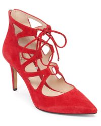 Vince Camuto   Red Bodell Pointed-toe Suede Ghillie Lace Up Pumps   Lyst