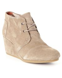 TOMS | Natural Desert Suede Lace-up Wedge Booties | Lyst