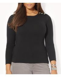 Lauren by Ralph Lauren | Gray Plus Buttoned-shoulder Top | Lyst