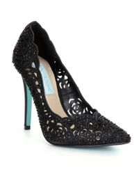 Betsey Johnson | Black Blue By Elsa Jeweled Laser-cut Satin Pointed-toe Pumps | Lyst