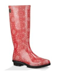 UGG | Red ® Women's Shaye Bandana Rain Boots | Lyst