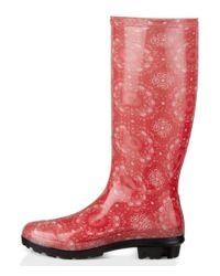 UGG - Red ® Women's Shaye Bandana Rain Boots - Lyst