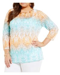 Ruby Rd. - Blue Plus Moroccan Ombre Border Print Embellished-neck Knit Top - Lyst