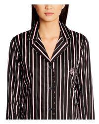 Lauren by Ralph Lauren - Black Striped Sateen Pajamas - Lyst