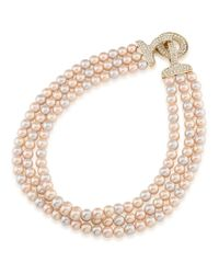 Carolee - Metallic Plaza Pink Pearl And Crystal Triple Row Necklace - Lyst