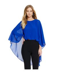 Belle By Badgley Mischka | Blue Banded Front Sheer Overlay Marcella Top | Lyst