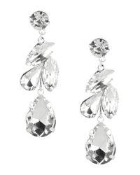 Cezanne - Metallic Laurel Rhinestone Linear Drop Earrings - Lyst