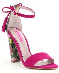 Betsey Johnson - Pink Rallo Floral Suede Block Heel Sandals - Lyst