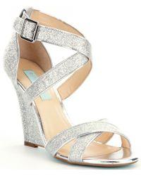 Betsey Johnson   Metallic Blue By Cherl Dress Sandals   Lyst
