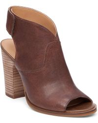 Lucky Brand | Brown Lizette Leather Peep Toe Booties | Lyst