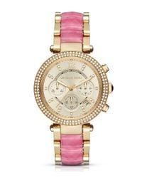 Michael Kors | Metallic Parker Two-tone Crystal Pavé Chronograph & Date Bracelet Watch | Lyst