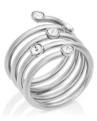 Michael Kors - Metallic Pavé Stainless Steel Spiral Ring - Lyst