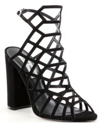 Steve Madden | Black Skales Caged Block Heel Dress Sandals | Lyst