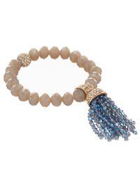 Belle By Badgley Mischka - Metallic Beaded Tassel Stretch Bracelet - Lyst