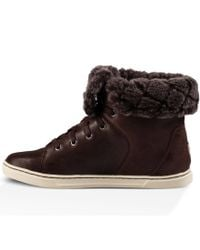 UGG Brown Croft Luxe Quilt Lace Up Sneakers