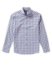 Vince Camuto | Gray Ombre-checked Dobby Slim-fit Long-sleeve Shirt for Men | Lyst
