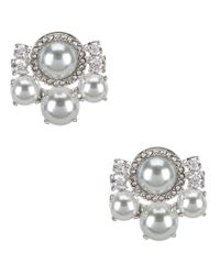 kate spade new york - Gray Pearls Of Wisdom Cluster Stud Earrings - Lyst