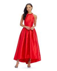 Carmen Marc Valvo   Red Infusion Halter Neck Hi-low Midi Dress   Lyst