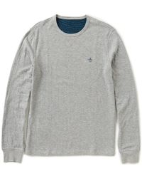 Original Penguin | Gray Long-sleeve Horizontal-striped/solid Reversible Knit Shirt for Men | Lyst