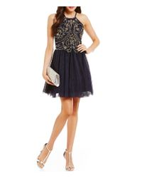 Blondie Nites | Blue Keyhole Neckline Beaded Bodice Fit-and-flare Party Dress | Lyst