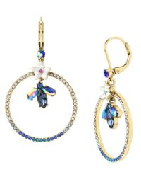 Betsey Johnson | Blue Flower & Faceted Stone Pavé Gypsy Drop Earrings | Lyst