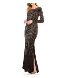 Xscape | Black Caviar Beaded Long Sleeve Jersey Gown | Lyst
