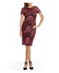 David Meister | Embroidered Sheath Cocktail Dress | Lyst