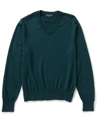 Brooks Brothers | Green Saxxon Stretch V-neck Sweater for Men | Lyst