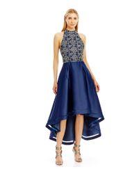 Nicole Miller   Blue Sequin Lace High-low Halter Dress   Lyst