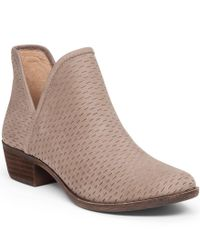Lucky Brand | Multicolor Bashina Nubuck Leather Stacked Heel Booties | Lyst