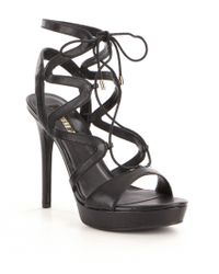 Guess | Black Aurela Leather Lace-up Ultra High Heel Dress Sandals | Lyst
