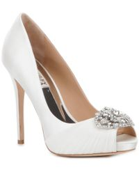 Badgley Mischka | White Desi Crystal-embellished Satin Peep Toe Pumps | Lyst